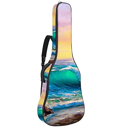 Bolsa de guitarra acústica acolchada gruesa impermeable doble correa de hombro ajustable Guitarras caso Gig Bag Sea wave 42.8 x 42.8 x 11.7 cm