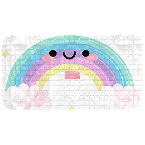 Z&Q Badewanne Duschmatte Regenbogen-Smiley rutschfeste Badewannenmatte Badezimmer-Badematte mit starken Saugnäpfen Abflusslöchern, Saugnäpfen, leicht zu reinigen 37.5x68.5 cm