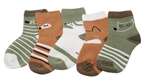 Colourful Baby World Chaussettes pour bébé garçon et fille Motif renard à rayures Vert/marron - Vert - Medium