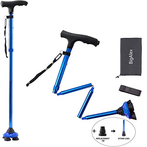 BigAlex Folding Walking Cane with LED Light,Pivoting Quad Base,Adjustable Walking Stick with Carrying Bag for Man/Woman (4'10''-5'8'' Blue )