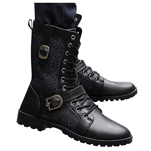 SUGEER Mens Winter Boots Mens Black Boots Retro Punk Pointed Side Zipper High Tube Motorcycle Boots Hiking Shoes