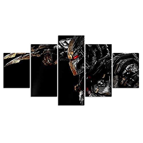 Leinwand HD Drucke Poster Wohnkultur Wandkunst Malerei 5 Panels Alien vs Predator Bilder Für Wohnzimmer-Ohne Rahmen