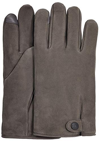 UGG Tabbed Splice Vent Leather Tech Gloves with Sherpa Lining Charcoal LG