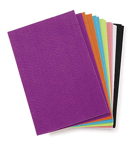 Darice Assorted, Part Felties Stiff Felt Sticky Backs (18 Sheets) Bright Colors  for Craft Projects with Kids, Costumes, Classrooms, Scouts, Parties  6 L x 9 W, 1mm Thick P, (6