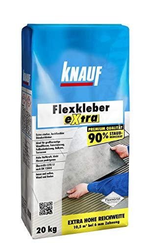 Knauf 201269 Mörtel Fliesenkleber 20 kg Naturstein-Kleber für Wand und Boden, zur Anwendung beim Fliesen-Legen innen und außen Flexkleber eXtra, Zementgrau