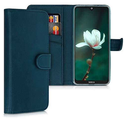 kwmobile Wallet Hülle kompatibel mit Nokia 7.2 - Hülle Kunstleder mit Kartenfächern Stand in Petrol
