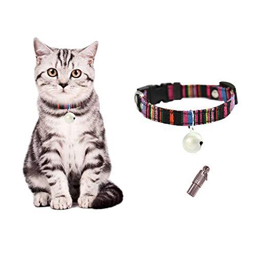 Andiker Katzenhalsband mit Glocke Verstellbar Haustier Halsband mit Adresslasche für...