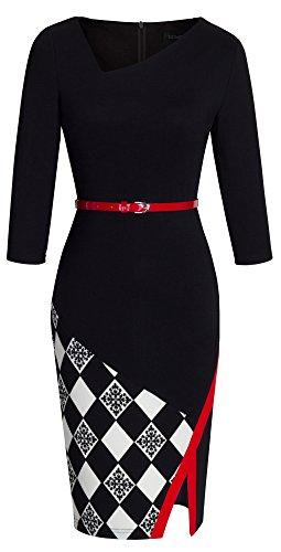 HOMEYEE Damen Ohne Arm Asymmetrische V-Ausschnitt Belted Enges Kleid B290 (EU 40 (Herstellergroesse: L), Schwarz + Grid - 3/4 Ärmel)