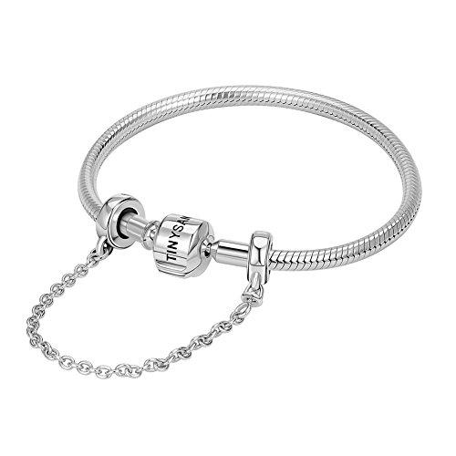 TINYSAND - Bracelet Femme Simple en Pur Argent 925 Sterling, Jonc de Base avec Chaine Securite Commun Europeen pour Les Charms Pandora Stytle, Argent