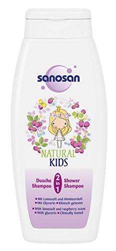 Sanosan 2-in-1 douche & shampoo met frambozengeur voor meisjes 250 ml