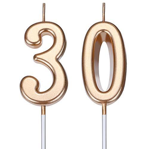 Velas de Cumpleaños de 30 Años Velas de Número de Pastel Velas de Torta de Feliz Cumpleaños Decoración de Tarta para Celebración de Aniversario Cumpleaños Boda (Dorado Champagne)