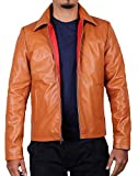 Laverapelle Men's Genuine Lambskin Leather Jacket (Cognic Tan, Large, Polyester Lining) - 1501267