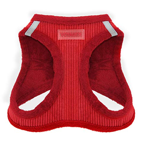 """Voyager Step-In Plush Dog Harness – Soft Plush, Step In Vest Harness for Small and Medium Dogs – By Best Pet Supplies - Red Corduroy, Small (Chest: 14.5"""" - 17"""")"""