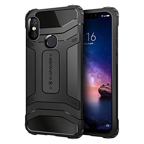 KAPAVER Xiaomi Redmi Note 6 Pro Back Cover Case Drop Tested Shock Proof Carbon Fiber Armor Black...