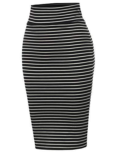 A2Y Stripes Ponte Knee Length Slit Techno Span High Waist Pencil Skirt Black White M