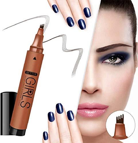 Stylo de tatouage de sourcil, crayon à sourcils liquide bifurqué Crayon à sourcils durable à l'épreuve des taches (crayon à sourcils brun foncé)