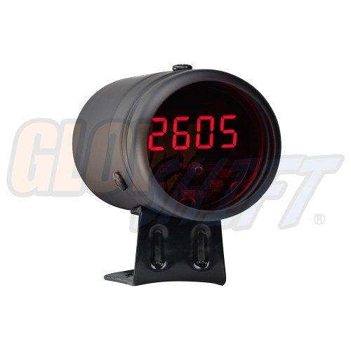 GlowShift Digital Tachometer & Shift Light - Black Housing & Red LED - for 4, 6, 8 Cylinder Gas Powered Engines