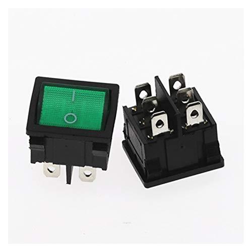 CHANGXINBH Interruptor pulsador 1pcs KCD5 basculante de conmutación 4 6 Pin 2 Nivel 6A 250V Off-On Color múltiple Multifuncional Accesorios eléctrica con Luces (Color : Green 6Pin)