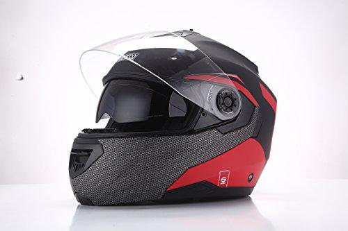 Sparco Riders 45349 Casco Moto Modulare, Nero/Rosso Opaco, Taglia M