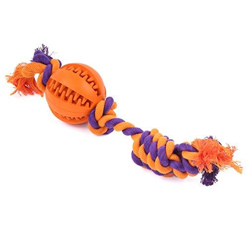 Pawaboo Pelota para Perro - Juguete de Cuerda Resistente de Algodón de Mastica/Duradero no Tóxico/Limpieza de Dientes Play Cachorros Ball Toy de Goma, Naranja
