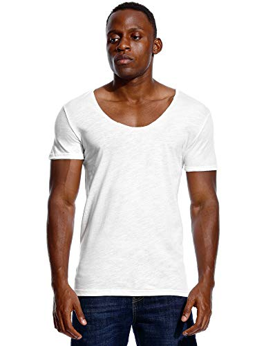 Deep V Neck T Shirt for Men Low Cut Scoop Tee Invisible Tshirt Vee Top White M