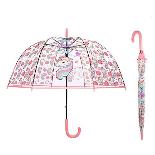 Einhorn Kinder Schirm für Mädchen Regenschirm Transparent Klar Regenschirm Durchsichtiger Kuppel Glockenschirm mit Farbe koordinierte Griff und Automatischemnopf (Pink)