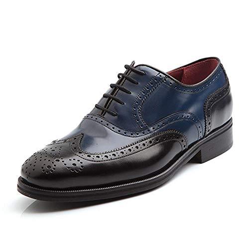 Beatnik Shoes Zapato de Cordones en Piel Bicolor Azul y Negro para Hombre de Estilo Oxford Brogue Beatnik Holmes Black & Blue
