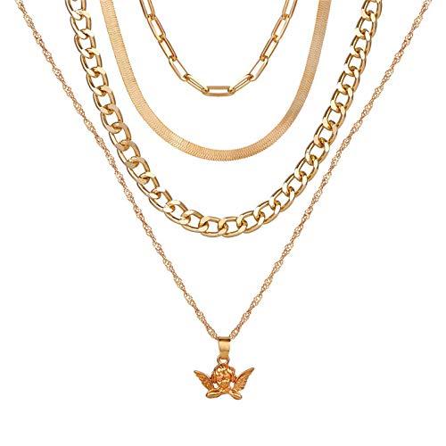 Collares Colgante Joyas Nuevos Collares para Mujer, Colgante De Corazón, Cadena De Clavícula, Conjunto De Collar De Oro Multicapa, Jewelry-43687