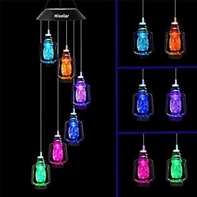 HiSolar Lanterns Solar Wind Chime Color Changing Solar Mobile Light Waterproof LED Wind Chime Solar Powered Wind Mobile Colorful Light for Home Party Yard Garden Decoration