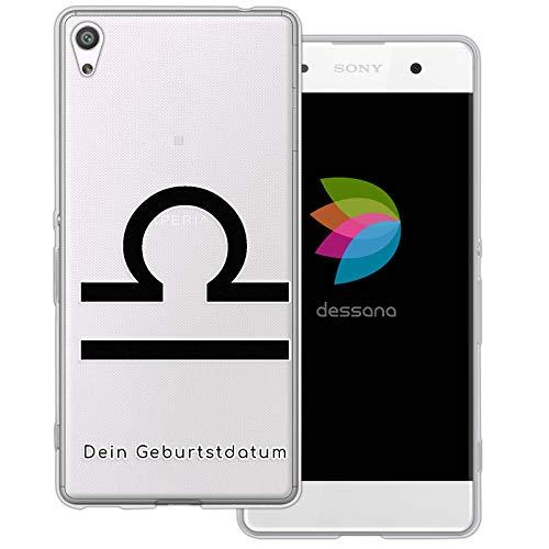 dessana sterrenbeeld met datum transparante silicone TPU beschermhoes 0,7 mm dunne mobiele telefoon soft case cover tas voor Sony, Sony Xperia XA, Weegschaal verjaardag