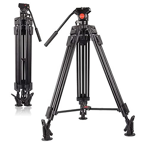 POLAM-FOTO Professionelles Video-Stativsystem, Aluminiumlegierung, robust, für Videokamera, Traglast 8 kg, Stativ mit Flüssigkeitskopf, 163 cm