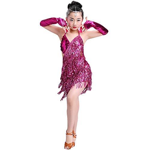 Mädchen Latein Tanzkleid Quaste Kleid Pailletten Latein Kostüm Salsa Tango Samba Rumba Ballroom Turnierkleid Performance Dancewear