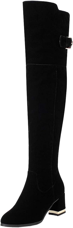 Vitalo Womens Chunky Block Heel Thigh High Zipper Buckle Over The Knee Boots