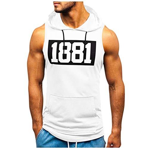 ღLILICATღ Camiseta con Capucha de Tirantes Deportes para Hombre, Tops Camisa sin Mangas de Verano Fitness