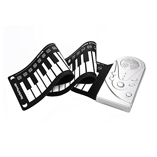 Read About Portable Rolling Up Piano, 49 Keys Electronic Keyboard Hand Rolling Up Piano for Children...