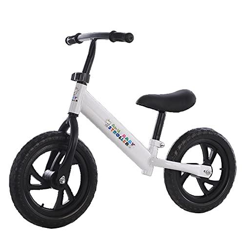 XJMPYGR 12'Niños No Pedal Bicycle, Marco de Acero al Carbono Balance Bicicleta de Entrenamiento de Bicicletas, para Jinetes Principiantes y niños pequeños de 1 a 7 años,Blanco