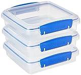 Sistema - Porta sandwich 450 ml in Plastica, colorata, 14,5 x 15 x 12,4 cm, confezione da 3