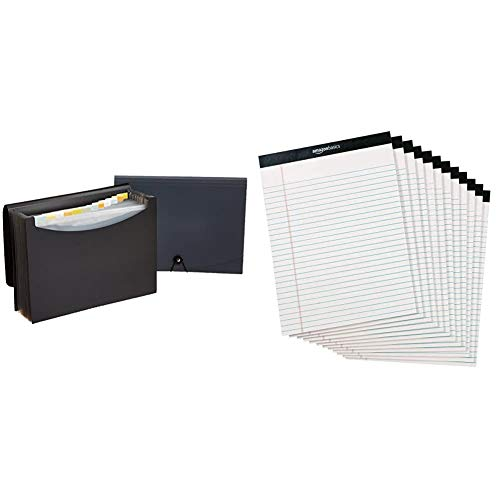 Amazon Basics Expanding Organizer File Folder, Letter Size - Black/Gray, 2-Pack & AmazonBasics Legal/Wide Ruled 8-1/2 by 11-3/4 Legal Pad - White (50 Sheet Paper Pads, 12 Pack)