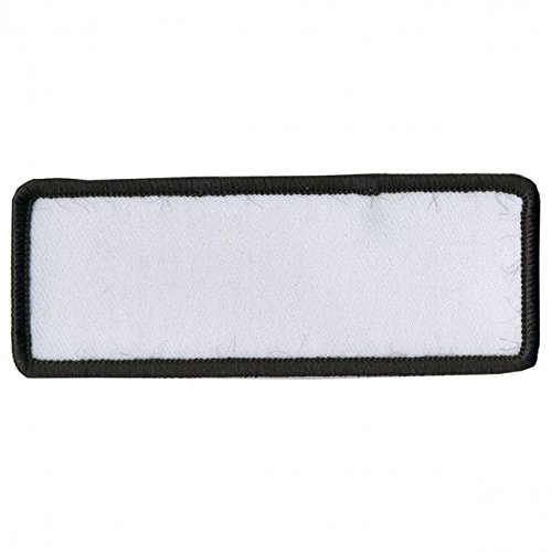 """BLANK WHITE with BLACK TRIM, Saw-On Rayon PATCH - 4"""" x 1.5"""", Exceptional Quality"""