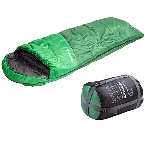 KeenFlex Schlafsack 3 Jahreszeiten Deckenschlafsack Ideal für Camping Backpacking oder Wandern (Grün)