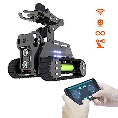 Adeept RaspTank WiFi Wireless Smart Robot Car Kit for Raspberry Pi 3 Model B+/B, Tank Tracked Robot with 4-DOF Robotic Arm, OpenCV Target Tracking, Video Transmission, Raspberry Pi Robot with PDF