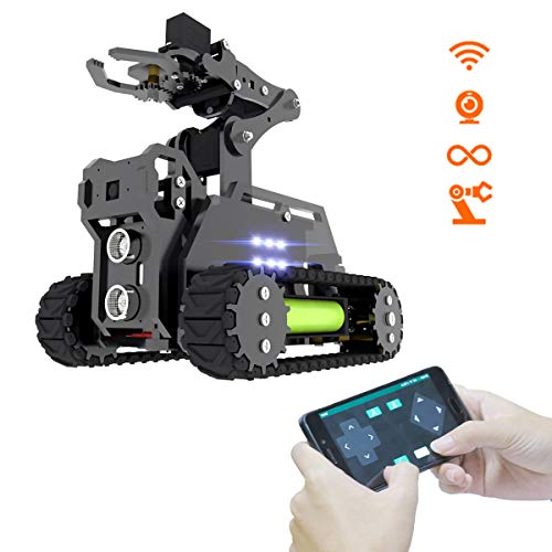 Adeept RaspTank WiFi Wireless Smart Robot Car Kit für Raspberry Pi 4/3 Modell B+/B/2B, Panzerroboter mit 4-DOF-Roboterarm, OpenCV-Zielverfolgung, Videoübertragung, Raspberry Pi-Roboter mit PDF