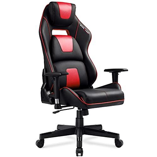 GTPLAYER Ergonomischer Gaming Stuhl, Bürostuhl mit Kopf -, Rücken- und Lendenwirbelkissen, Racing Stil Schreibtischstuhl mit 3D-Armlehnen, Höhenverstellbarer Drehlstuhl (Schwarz & Rot)