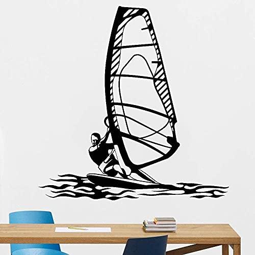 Decoración Del Hogar Pegatinas De Pared Pegatinas De Interior Windsurf Deportes Acuáticos Gimnasio Personal Arte Windsurf Estilo De Playa 42X42Cm