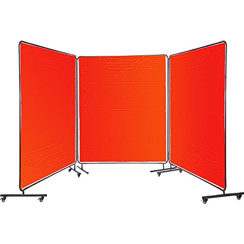 VEVOR Welding Curtain 6' x 6' Welding Screens Flame Retardant 3 Panel Welding Curtain with Frame and Wheels, Translucent Welding Shield, Flame Resistance Weld Curtain, Adjustable Size, Red