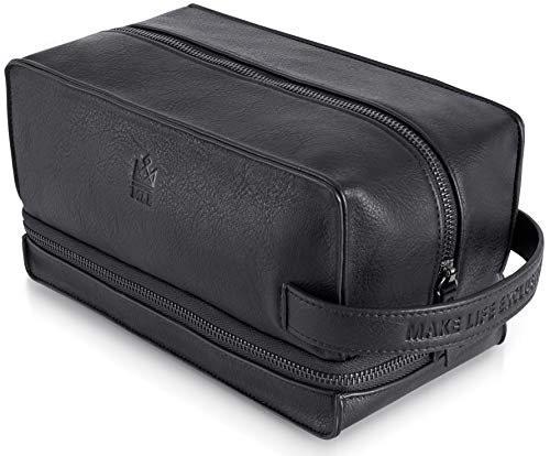 Leather Shaving Bag for Men, Mens PU Leather Toiletry Bag, Leather Dopp Kit for Men, Toiletry Bag, Mens Travel Toiletry Bag, Hygiene & Grooming Kit Organizer, Cruelty-Free Leather and Hand Stitched Vanity Case