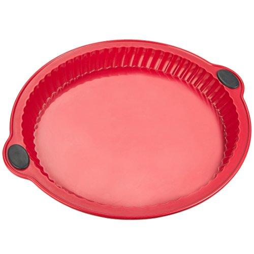 Levivo moule à tarte en silicone, moule à pâtisserie pour les tartes en silicone, moule en silicone, moule à gâteaux, plat en silicone pour la cuisson au four, ∅ 26cm, rouge