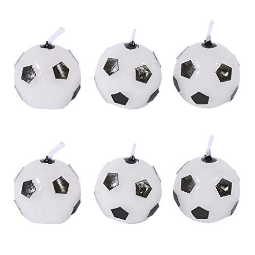 Cake Candles - Cute Soccer Ball Shaped Football Birthday Candles Decorations Pack of 6