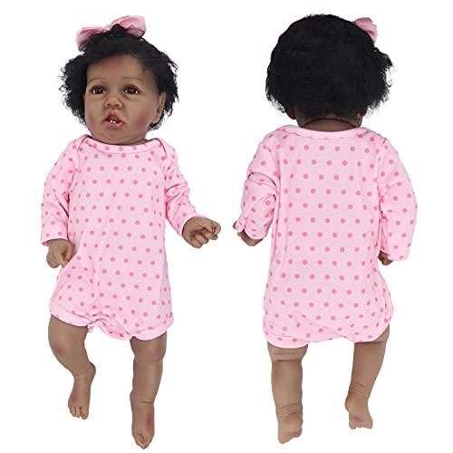Muñeca negra, 55 cm / 21,7 pulgadas, cuerpo suave, africana, lavable, realista, muñeca portátil, como la vida, muñeca renacida con biberón, chupete, pañal, regalo de cumpleaños para niños y niñas