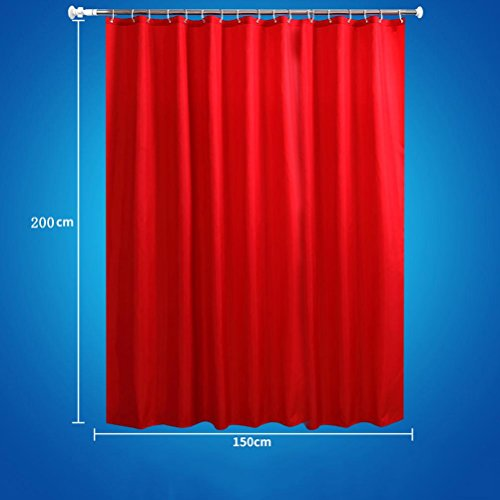 LAundNA Solid Color Waterproof Polyester Stoff Bad Duschvorhang kommt mit 12 Haken , red , 150*200cm